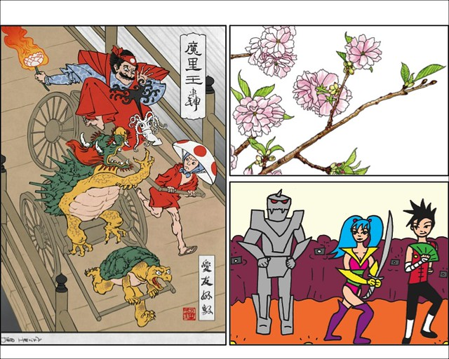 Ukiyo-e Heroes (left), image courtesy of Jed Henry; Art by Kate T. Williamson (above right), image courtesy of Kate T. Williamson; Art by Abby Denson (below right), image copyright Abby Denson