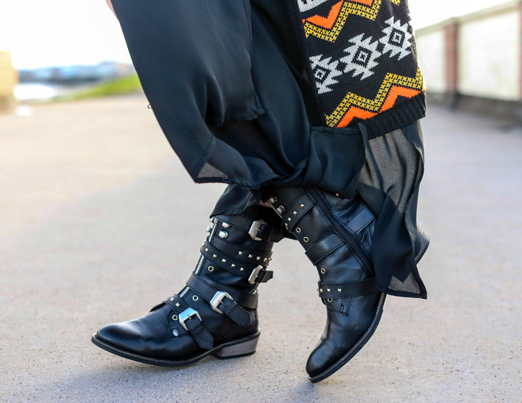 biker boots, firetrap, gypsy outfit, buckle boots, studs