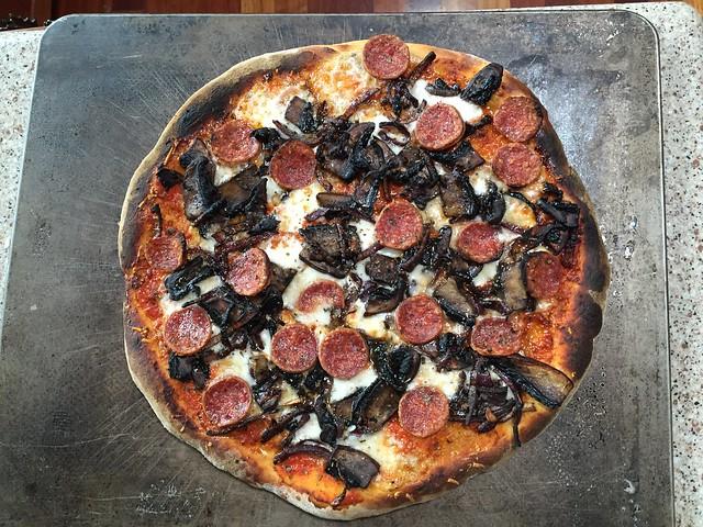 Pepperoni, Mushroom, and Onion Pizza