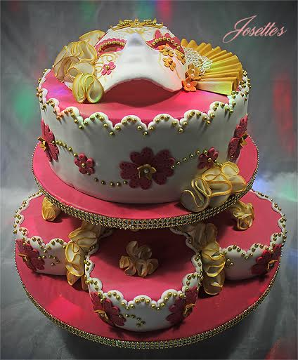 Venitian Mask Wedding Cake by Josette Magri