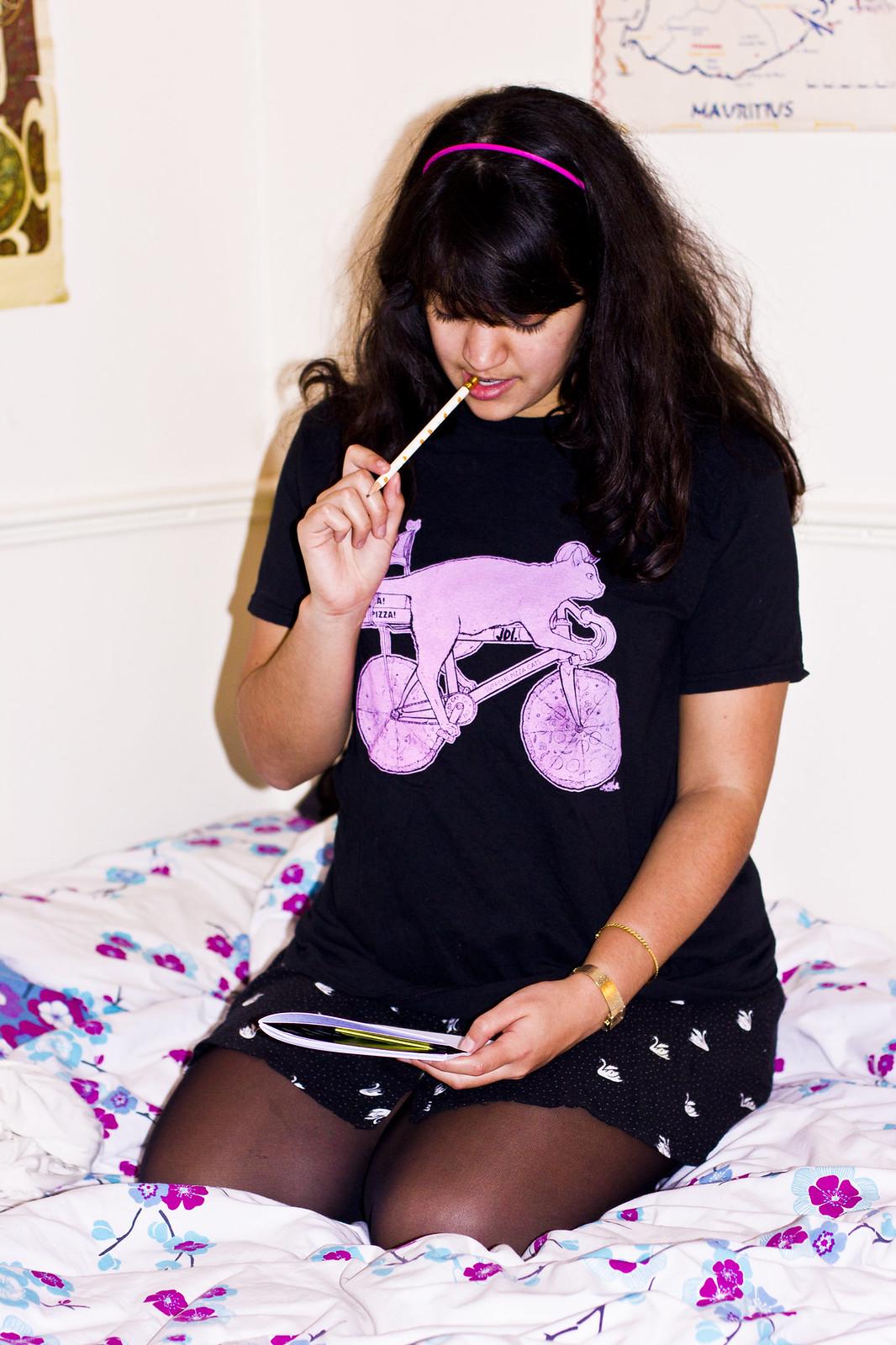 laila tapeparade bed sat down screen printed printing t shirt