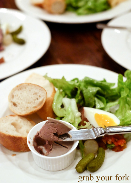 Homemade chicken liver parfait at Bistro Papillon, Sydney