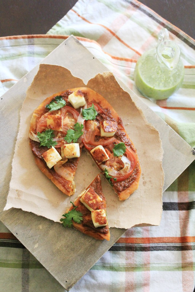 recipe: curry + paneer naan pizza