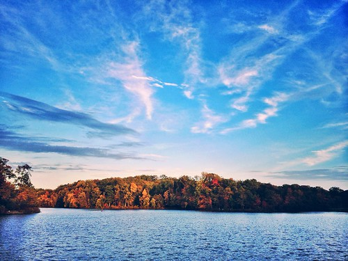 trees sunset sky usa cloud lake color fall nature water forest landscape md maryland greenbelt iphone snapseed iphone5s