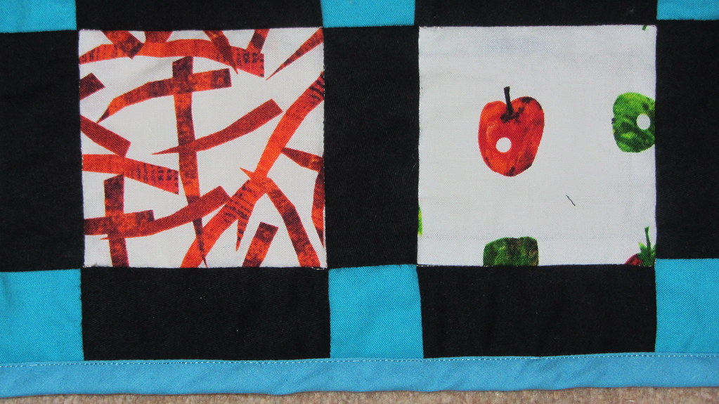Hungry Caterpillar quilt - edge stitching