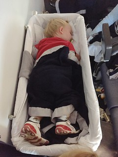 Ian in Lufthansa Bassinet