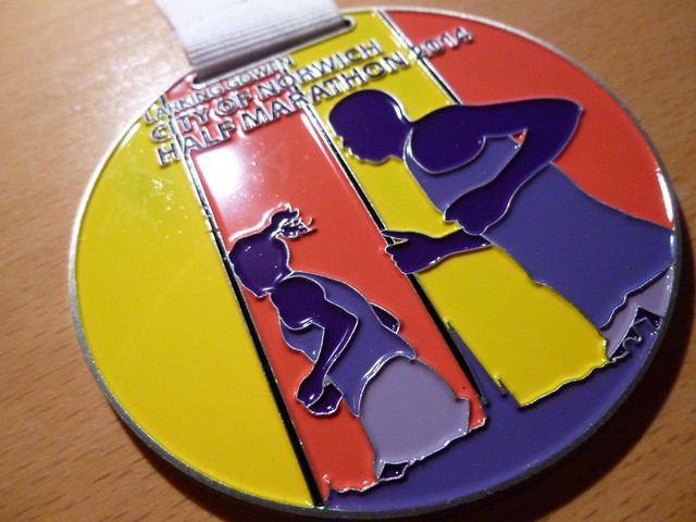 Norwich half marathon medal 2014