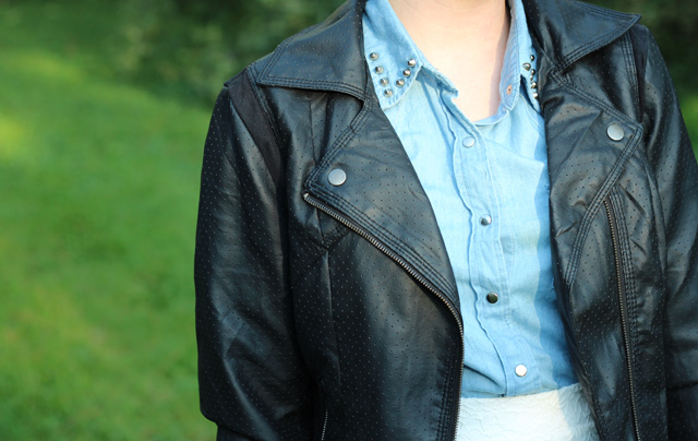 Black Faux Leather Jacket and Denim Button Down