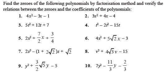 Class 10 Important Questions for Maths Polynomials – Polynomial Equations Worksheet