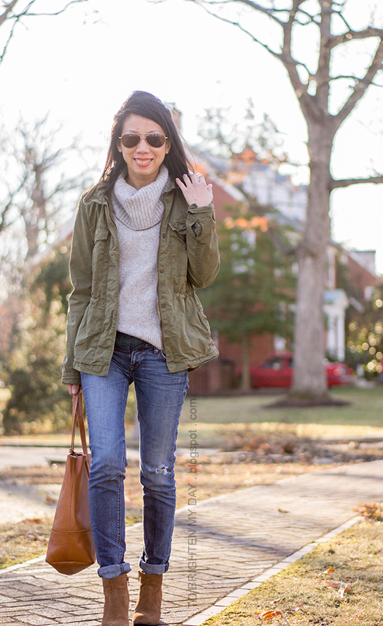 green military jacket, gray turtleneck sweater, green plaid shirt, brown suede ankle boots