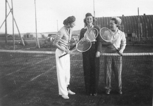 Gwen Collip (right) and friends playing tennis
