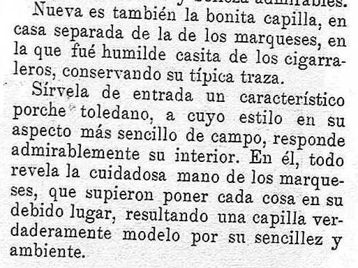 Extracto del artículo sobre el cigarral El Bosque de febrero de 1929 publicado en la revista Toledo