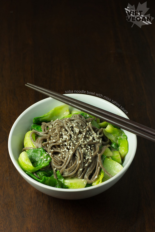 Soba Noodle Bowl with Miso Tahini Sauce - The Viet Vegan