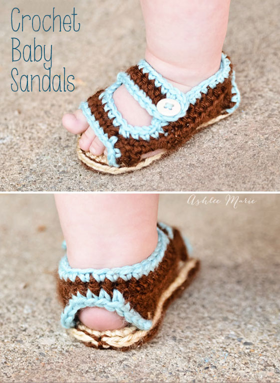 Simple Crochet Patterns For Baby Booties : Crochet Baby Sandals Ashlee Marie
