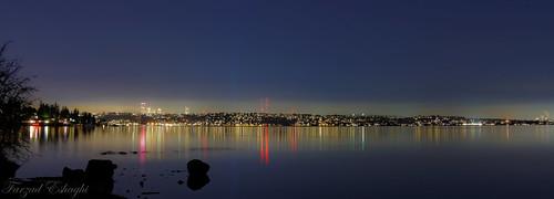 reflection water night shadows parks lakewashington lutherburbank seattlenight