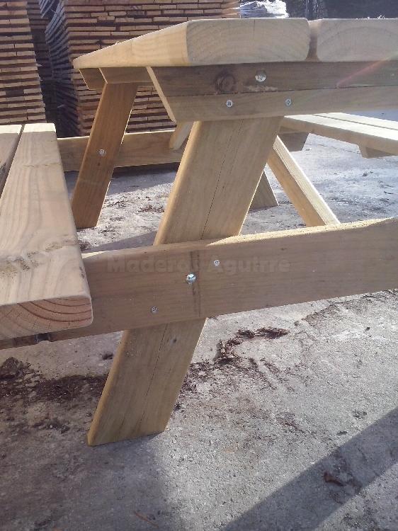 Maderas aguirre sillas mesas mesa pino picnic 2400x780x48mm - Maderas aguirre ...