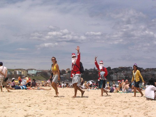 Santas at Bondi Beach