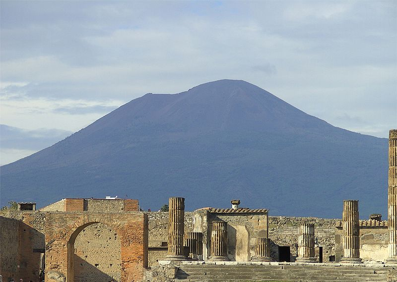 Ruins of the Temple of Jupiter in Pompeii with Mount Vesuvius in the background (2)