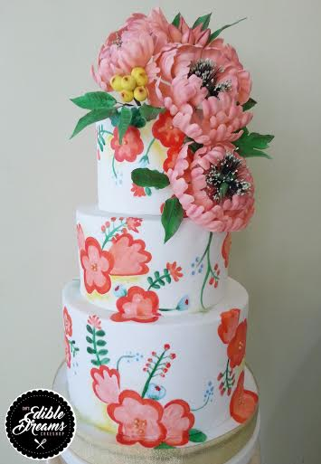 Painted Wedding Cake by Cha Caldito-Caparas of Edible Dreams Cakeshop by B&B Cake Couture