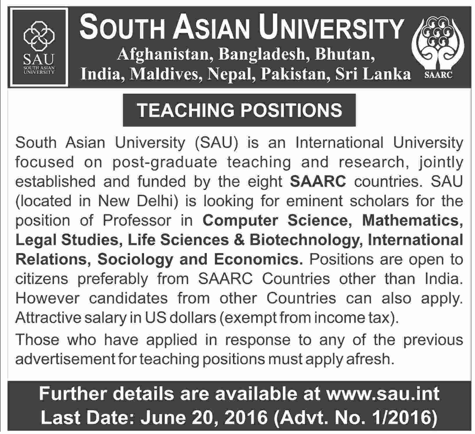 South Asian University Career Opportunities