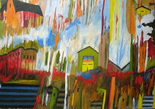 pintura sobre tela abstracta