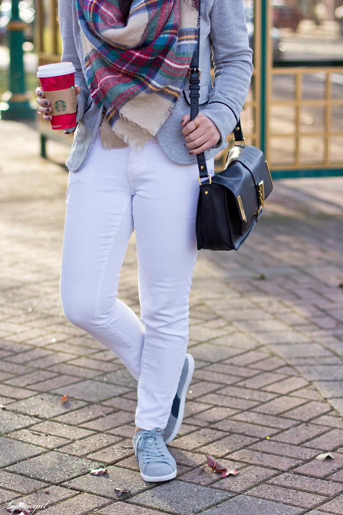 grey sweatshirt blazer, white jeans, plaid scarf-3.jpg
