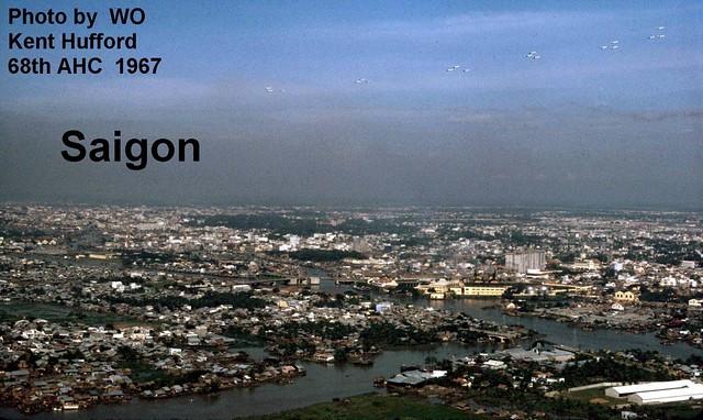 SAIGON 1967 - Aerial View - Khu vực Cầu chữ Y - Photo by WO Kent Hufford 68th AHC
