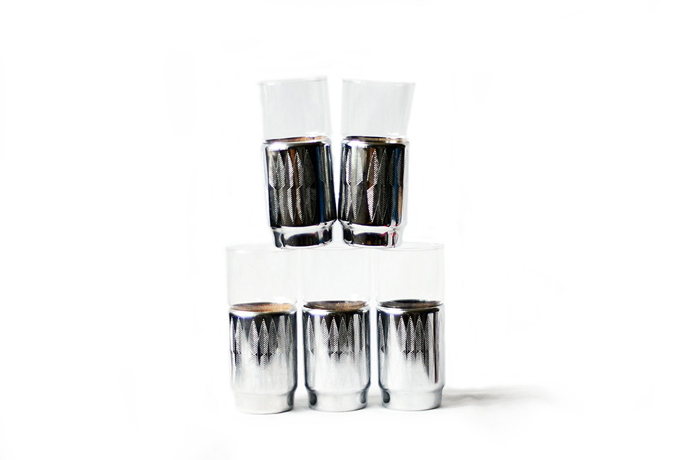 Five Vintage Metal and Glass Highball Tumblers with Leaf Pattern by Hellerware