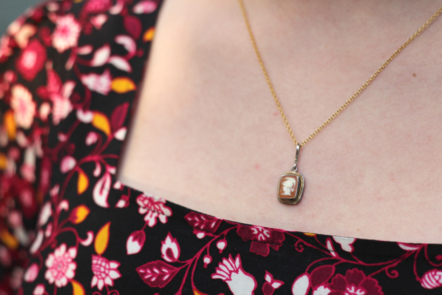Italian Cameo Necklace with a Floral Square Neck Dress