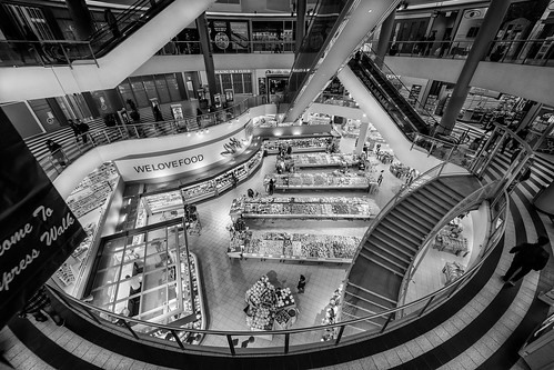 blackandwhite toronto canada architecture shopping sony shoppingmall produce grocery alpha birdseyeview a7 loblaws leadinglines ultrawideangle 14mm samyang welovefood