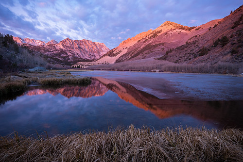 california reflection ice sunrise aspen sierranevada bishop northlake inyonationalforest alpineglow lakesabrina eastersierra aspendell