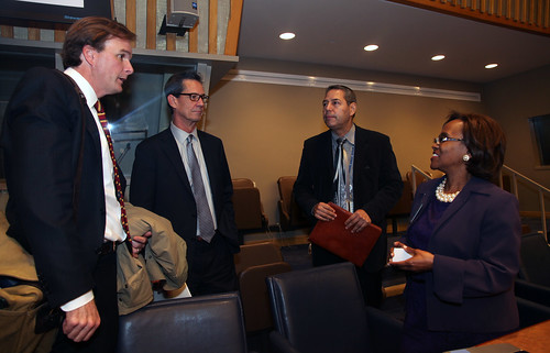 U.S. Department of Agriculture (USDA) Natural Resources and Environment (NRE) Under Secretary Robert Bonnie; Dave Smith, Deputy Chief of Natural Resources Conservation Service (NRCS), SSRA; Javier Molina Cruz, FAO Liaison Office; and Ms. Sharon Brennen-Haylock, Director, Food and Agriculture Organization (FAO) Liaison Office to the UN talk briefly after the conclusion of during a celebration event marking the launch of The International Year of Soils at the United Nations headquarters in New York on Dec. 5, 2014. Friday is also the 1st World Soil Day. USDA photo by Zack Baddorf.