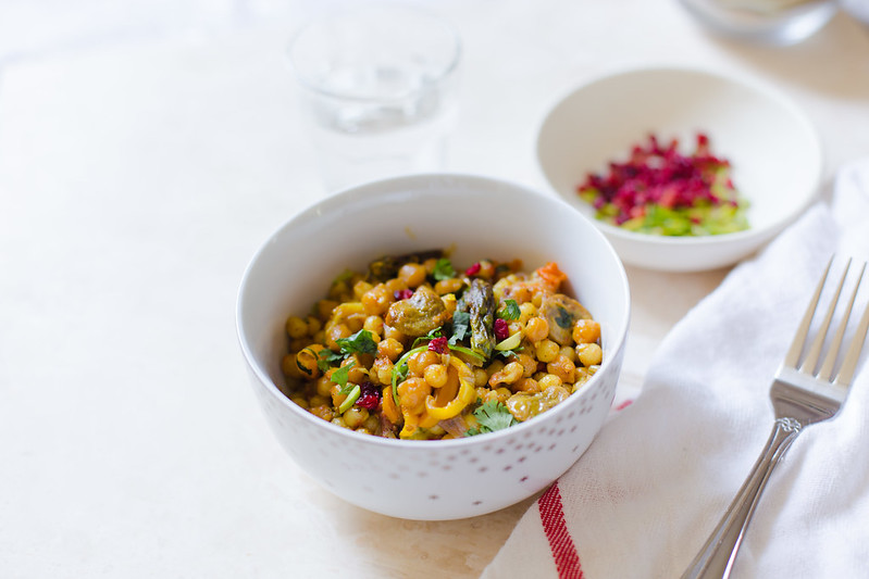 Pearl Couscous and Chickpeas with Vegetables