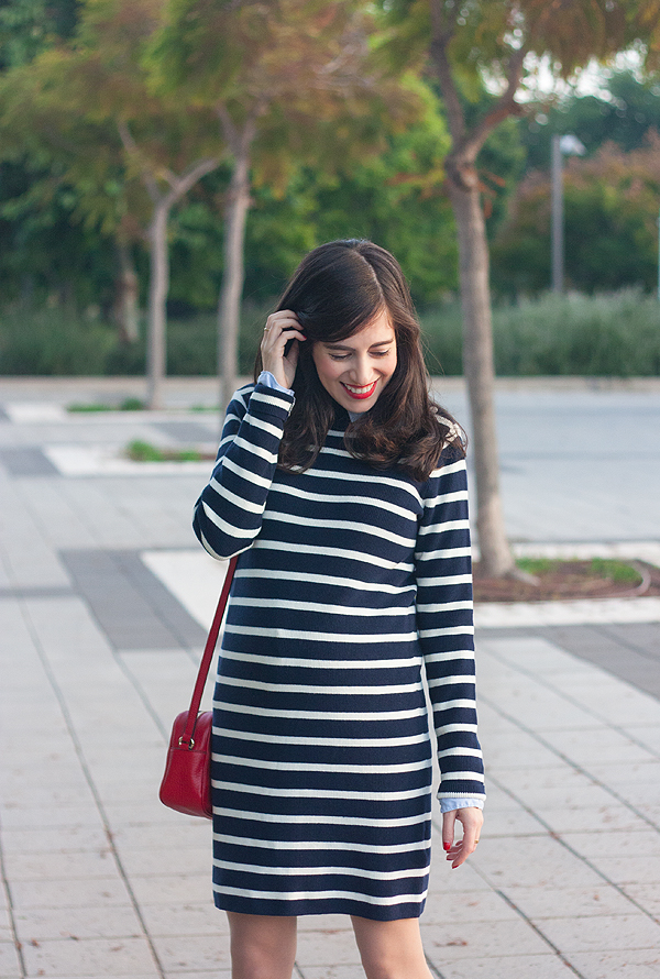 gap stripe sweater dress, gap dress, gap collaboration, sweater dress, stripe dress, fashionpea, israeli fashion blogger, בלוג אופנה ישראלי, אפונה, דר משיח, גאפ, שמלת פסים, שמלה מגאפ