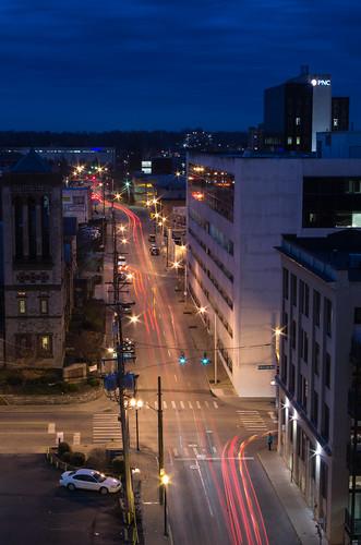street longexposure urban car night buildings lights downtown lexington kentucky trails