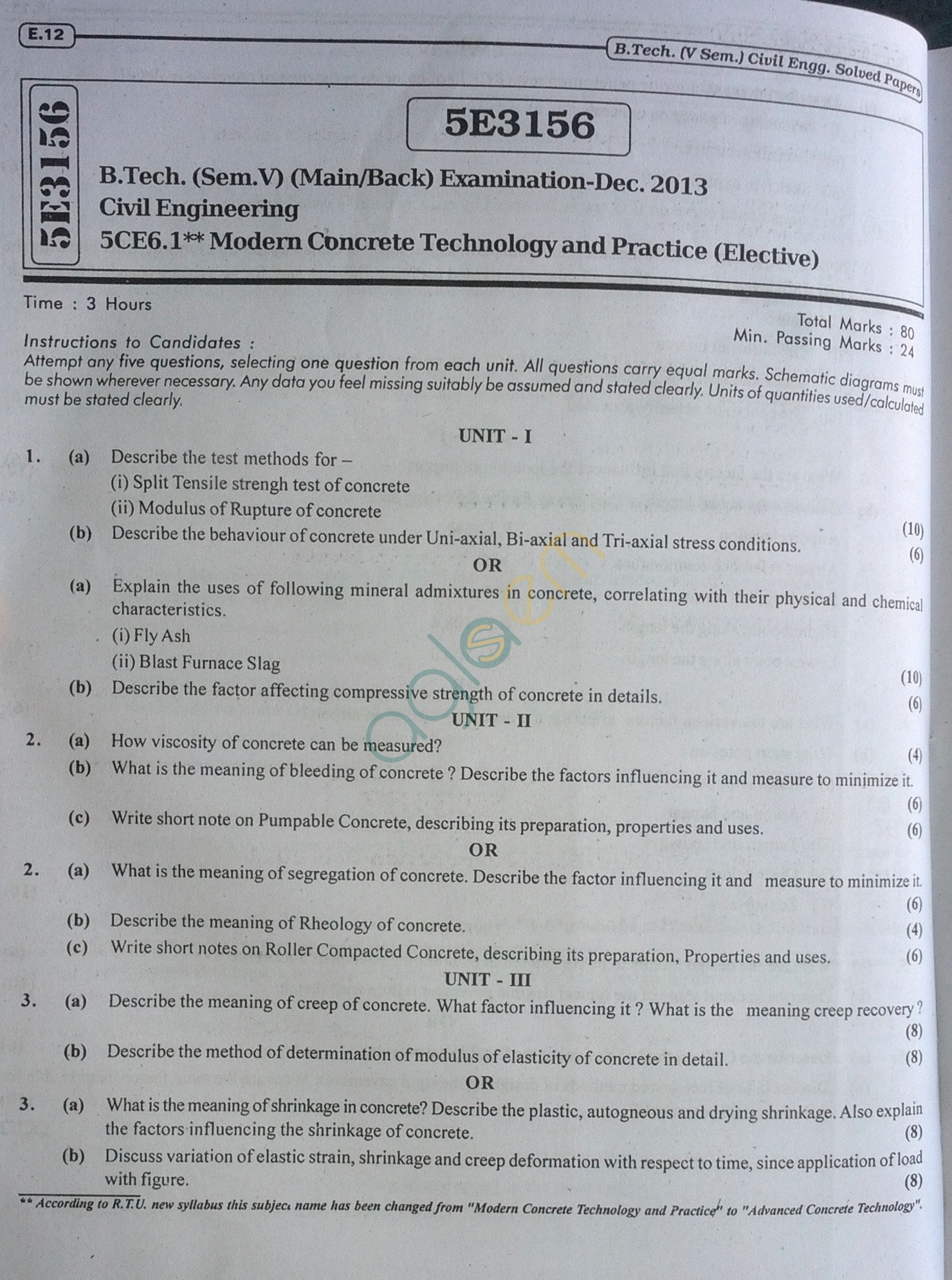 RTU: Question Papers 2013 - 5 Semester - CE - 5E3156