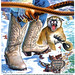Nocona Boots vs cougar, 1982 by Tom Simpson