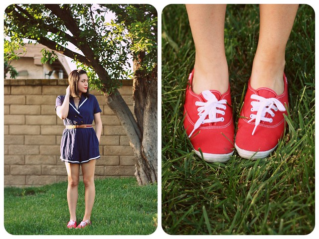 Outfit Details: Navy sailor romper (Urban Outfitters) | Tan, red, navy striped belt (Forever 21) | Red Keds (c/o Keds)