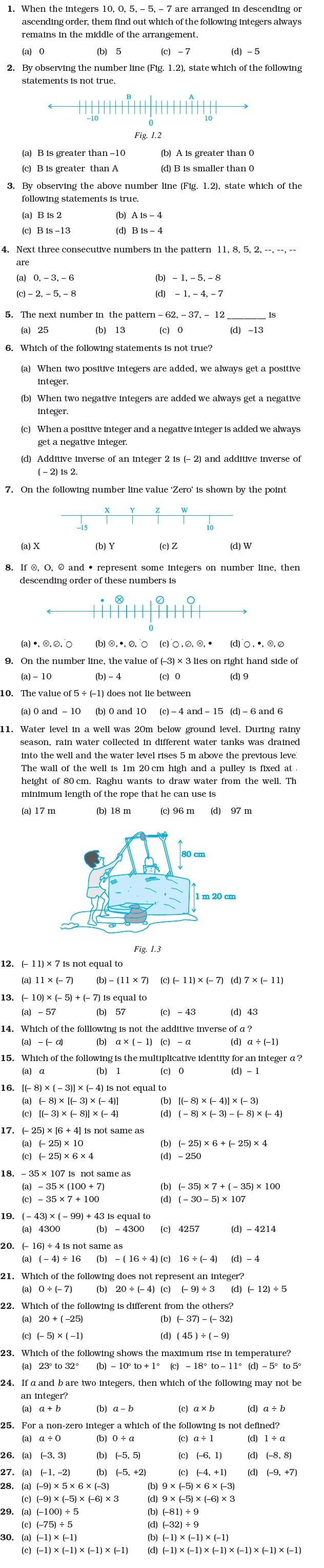 7 Important Questions for Maths Integers – Math Integers Worksheets Grade 7