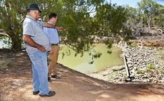William Bates shows Jeremy Buckingham the old Wilcannia weir