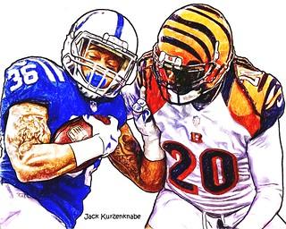 Indianapolis Colts Dan Herron - Cincinnati Bengals Dre Kirkpatrick and Reggie Nelson