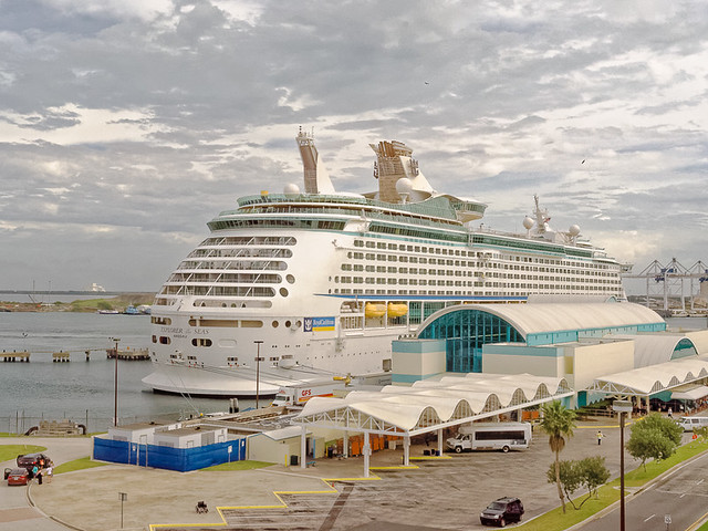 Royal Caribbean Cruise Ship Docked At Port Canaveral With NASA Launch Complex