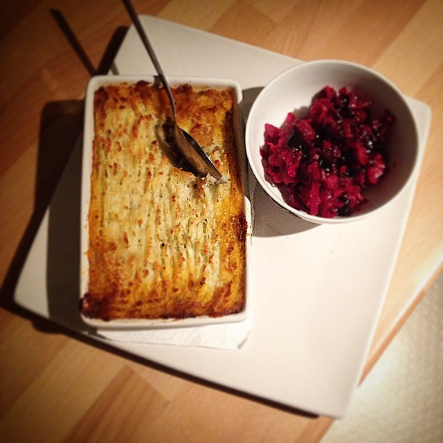 Warming lamb & potato pie with winter-spiced red cabbage. Scrumptious.