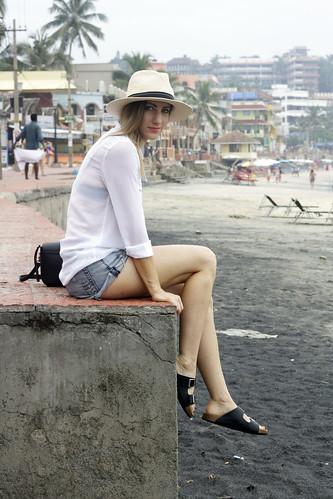 Beach-side holiday wearing classic denim