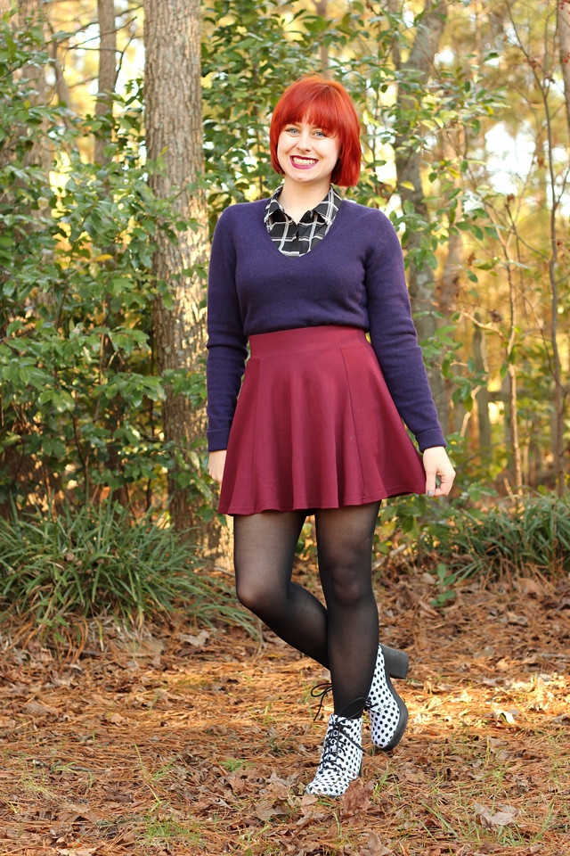 Winter Outfit: Purple Cashmere Sweater, Maroon Skater Skirt, White Polka Dot Boots