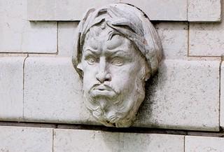 Head in the wall, bridge statuary in Paris