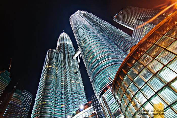 Evening at the Petronas Towers in Kuala Lumpur, Malaysia