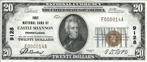 Castle Shannon National Bank Note face