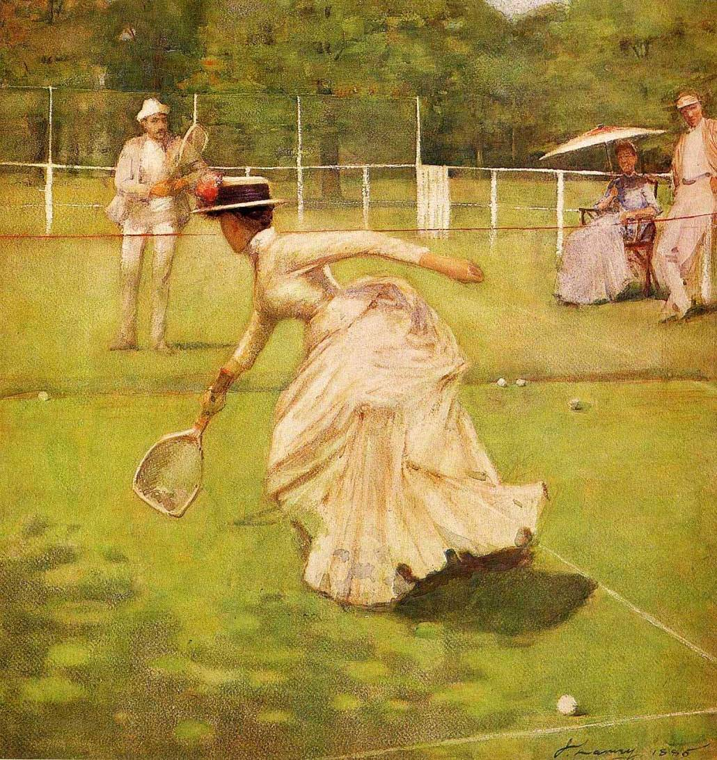 """A Rally"" painting by Sir John Lavery, Irish artist (1885); shows woman playing tennis with vigor, despite fashionable Victorian clothing."
