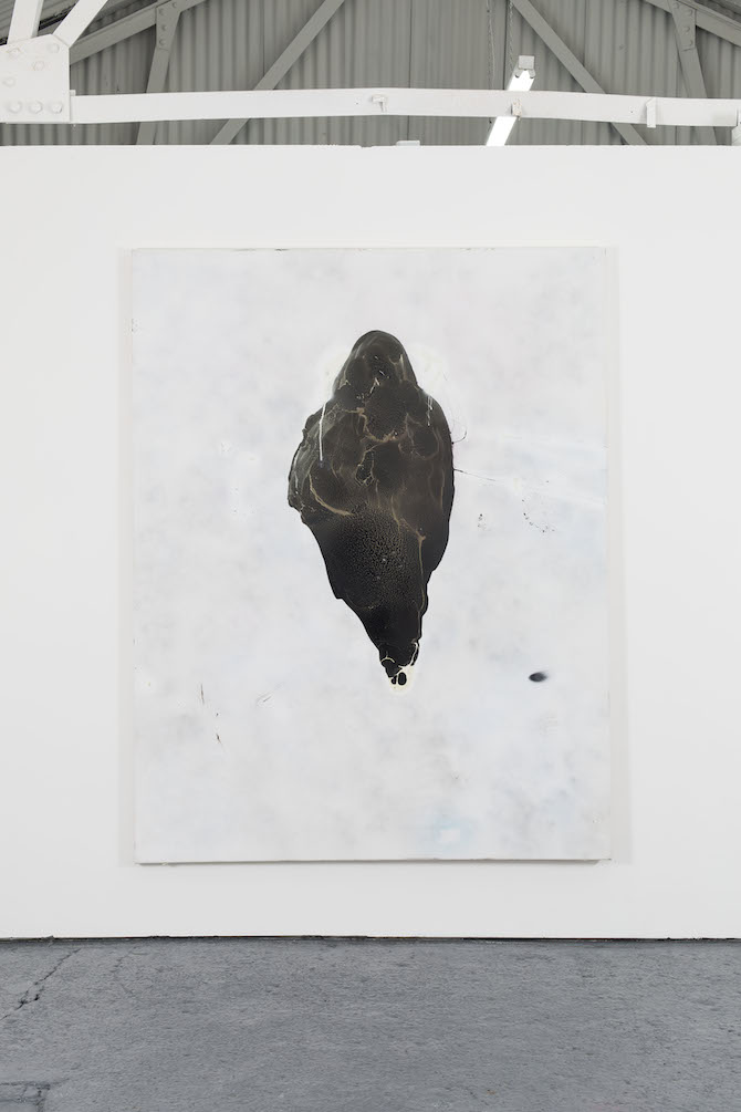 Robin von Einsiedel, Untitled 1, 2014, 207cm x 161cm, Spray Paint and Bitumen on Canvas. Courtesy Oscar Proctor